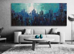 Abstrakt Gemälde Blue City
