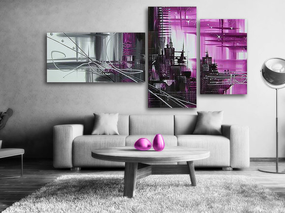 Gemälde Purple city