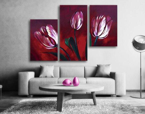 Blumen - Ölgemälde - Purple Tulips